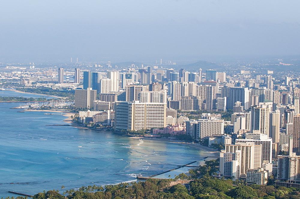 Honolulu from atop Diamond Head State Monument (Leahi Crater), Honolulu, Oahu, Hawaii, United States of America, Pacific