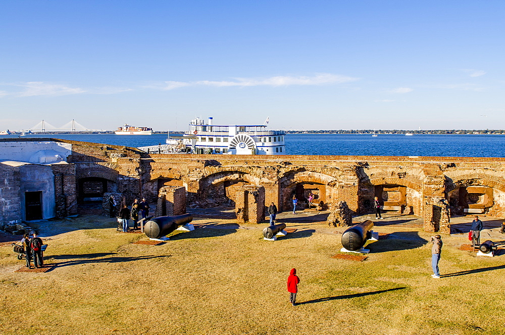 Cannon battery at Historic Fort Sumter National Monument, Charleston, South Carolina, United States of America, North America