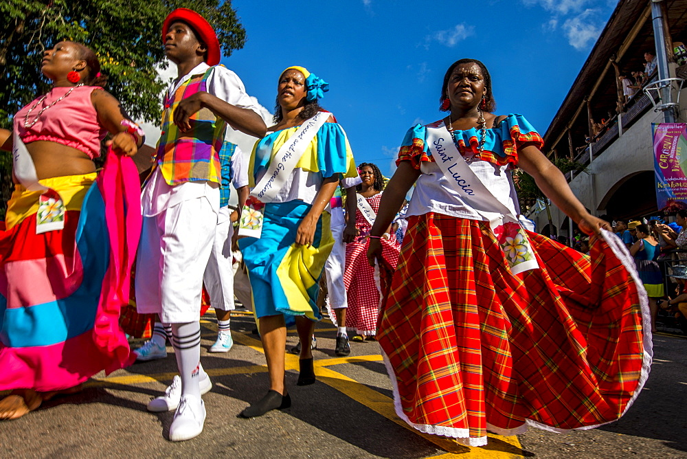 Street parade in the International Carnival Seychelles, in Victoria, Mahe, Republic of Seychelles, Indian Ocean.