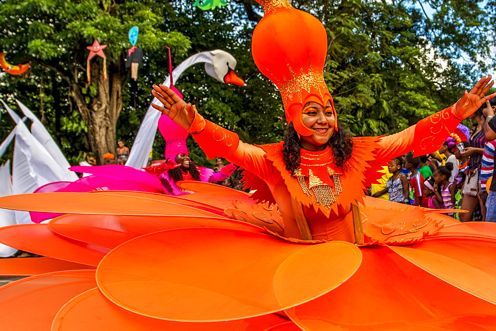 Caribbean participants in the International Carnival Seychelles, in Victoria, Mahe, Republic of Seychelles, Indian Ocean.