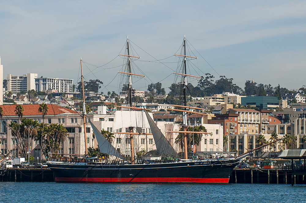 Star of India clipper ship (bark), Seaport Village, San Diego, California, United States of America, North America - 796-2360