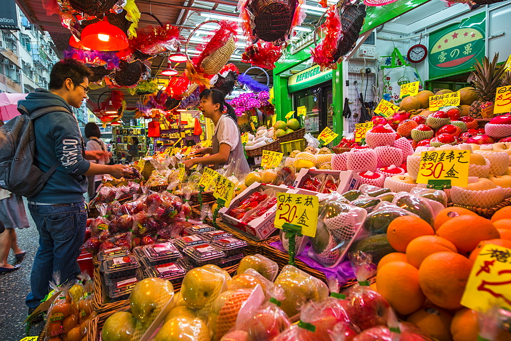 Nelson Street market, Mongkok, Kowloon, Hong Kong, China.