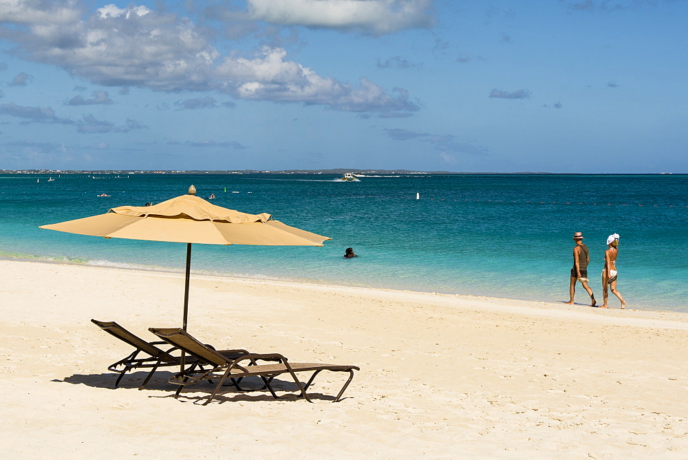 Beach umbrellas on Grace Bay Beach, Providenciales, Turks and Caicos Islands, West Indies, Central America - 796-2431