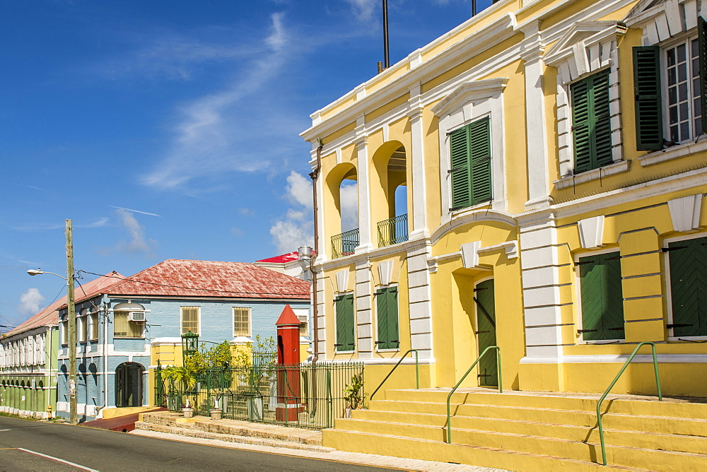 Historic buildings in downtown Christiansted, St. Croix, US Virgin Islands, Caribbean - 796-2448