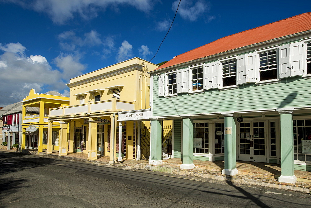 Historic buildings in downtown Christiansted, St. Croix, US Virgin Islands, Caribbean - 796-2453