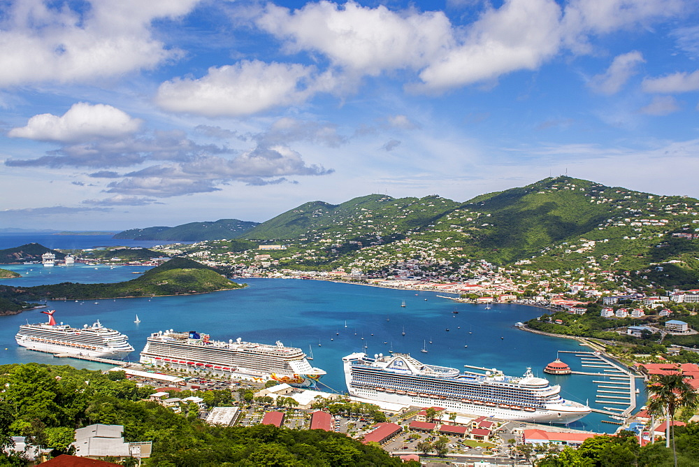Ships at Cruise Terminal on Charlotte Amalie, St. Thomas, US Virgin Islands, Caribbean - 796-2456