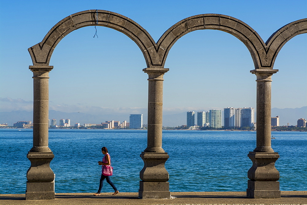 The Malecon arches, Puerto Vallarta, Jalisco, Mexico, North America - 796-2467