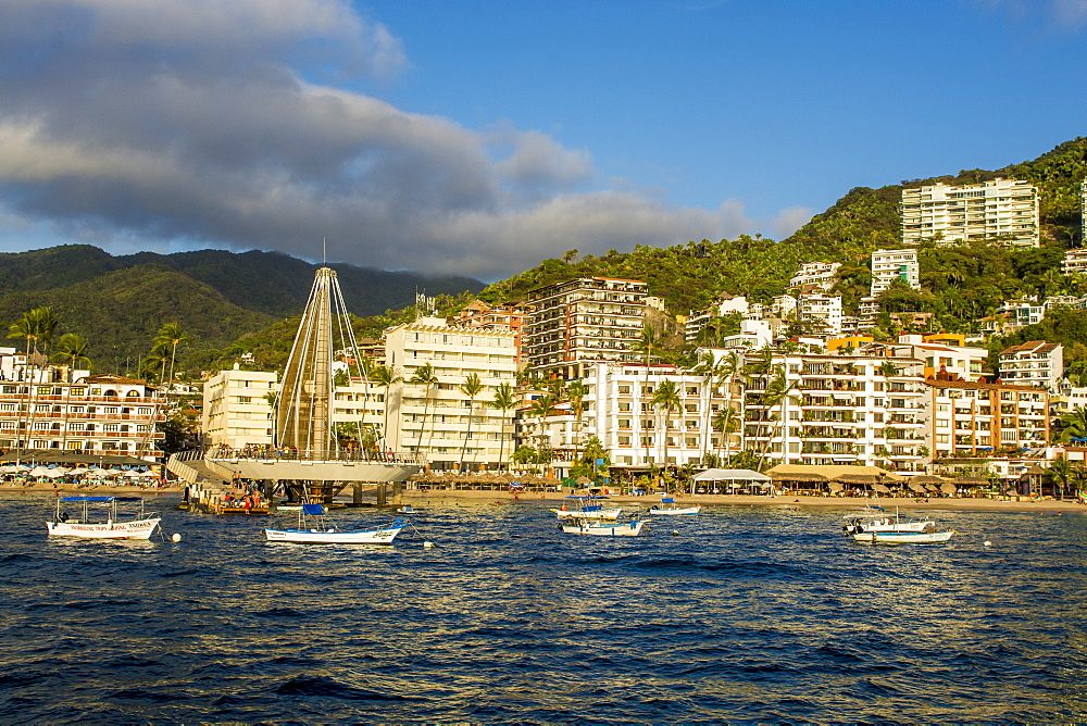 Skyline and Playa Los Muertos beach, Puerto Vallarta, Jalisco, Mexico, North America