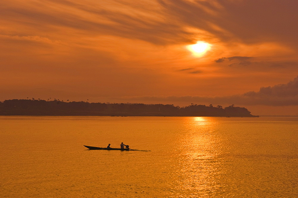 Fishermen at sunset on the Amazon River, Brazil, South America - 796-309