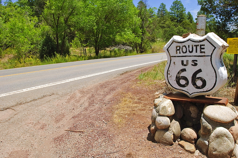 Road sign along historic Route 66, New Mexico, United States of America, North America