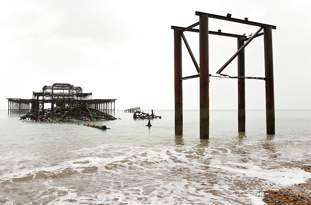 England, East Sussex, Brighton, Ruined shell of the West Pier.