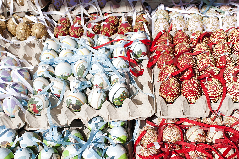 Austria, Vienna, Trays of hand-painted and hand decorated egg shells to celebrate Easter at the Schonbrunn Palace.