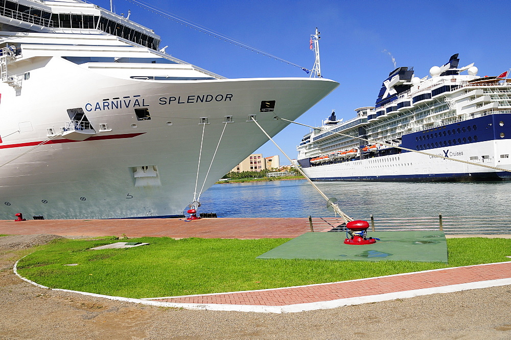 Mexico, Jalisco, Puerto Vallarta, Cruise ships in port at Nuevo Vallarta.