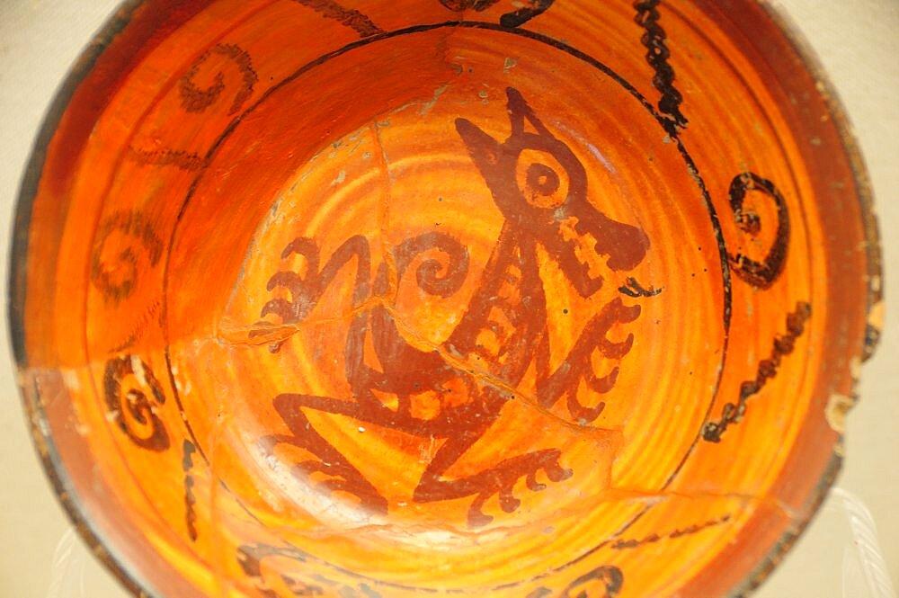 Mexico, Puebla, Cholula, Cholula site museum Ceramic plate from the Cholulteca 3rd Phase A.D. 1325-1500.