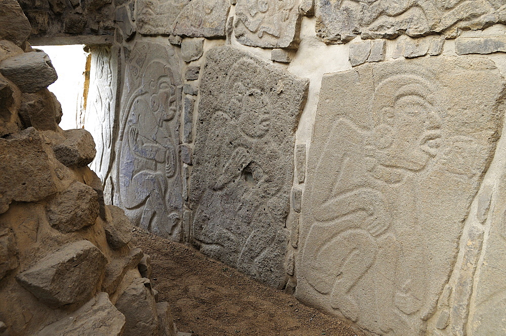 Mexico, Oaxaca, Monte Alban, Archaeological site Los Danzantes Gallery Relief carved stone blocks depicting dancers.