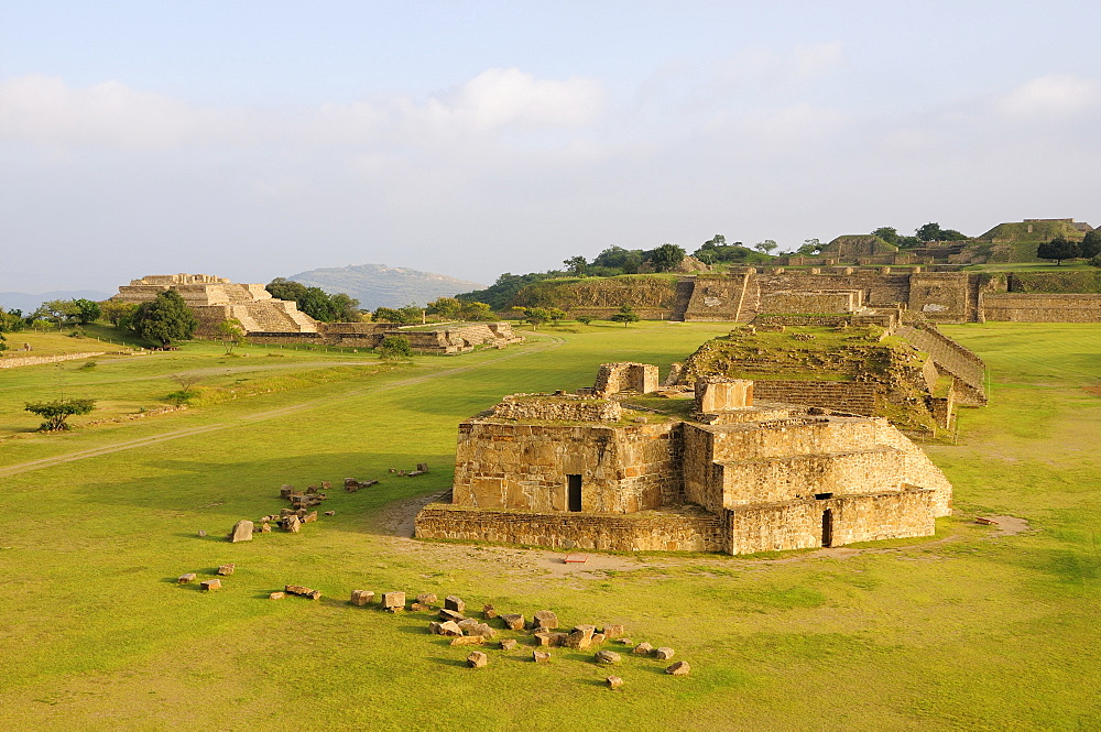 Mexico, Oaxaca, Monte Alban, Archaeological site Ruins of Monticulo J and Edifio I H and G buildings in the central plaza.