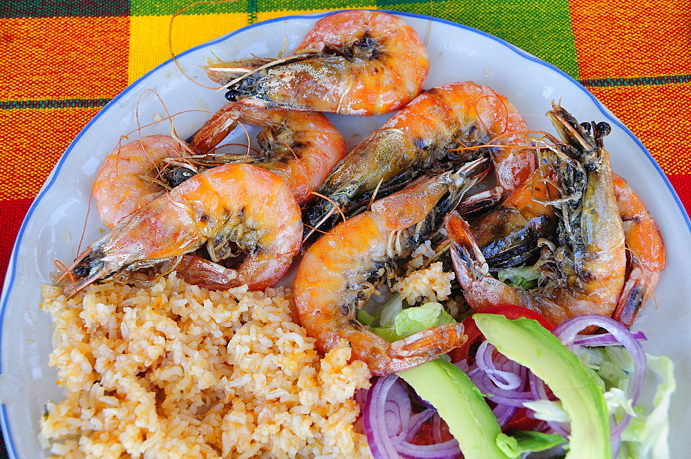 Mexico, Oaxaca, Huatulco, Gambas or prawns served on plate with sliced onion avocado tomato and couscous salad.