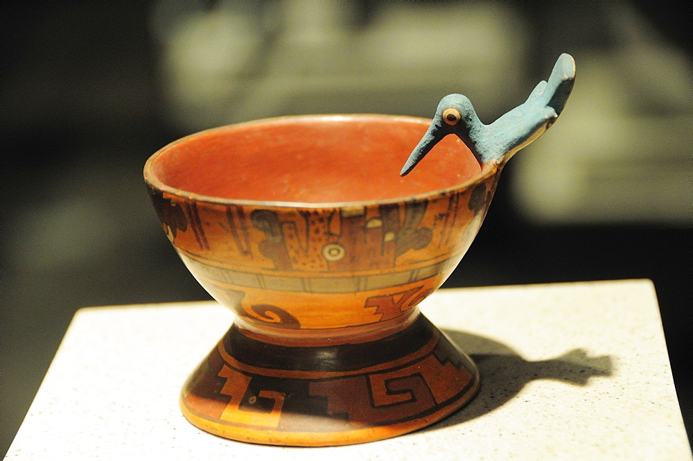 Mexico, Federal District, Mexico City, Museo Nacional de Antropologia Painted hummingbird goblet 800-1521 AD.