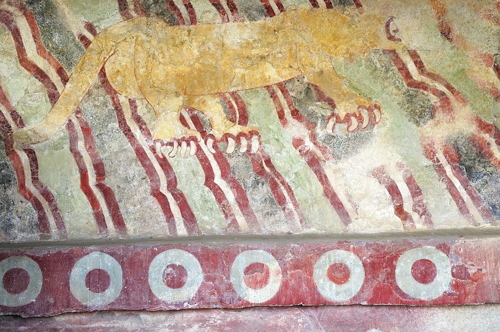 Mexico, Anahuac, Teotihuacan, Detail of wall mural depicting puma.