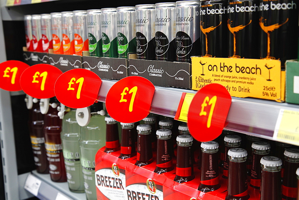 Shopping, Supermarket, Drinks, Cheap Alocholic drinks on sale for one pound.