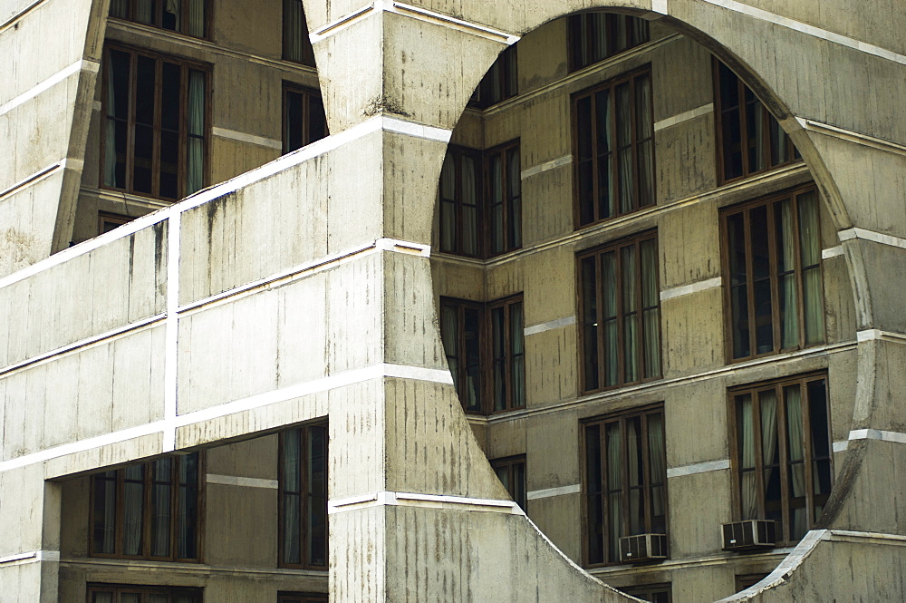 Bangladesh, Dhaka, National Assembly building designed by Louis Kahn using innovative concrete and geometric design.