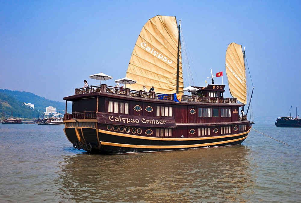 Vietnam, Ha Long Bay,, Gulf of Tonkin Cruise Ship in the Ha Long Bay.