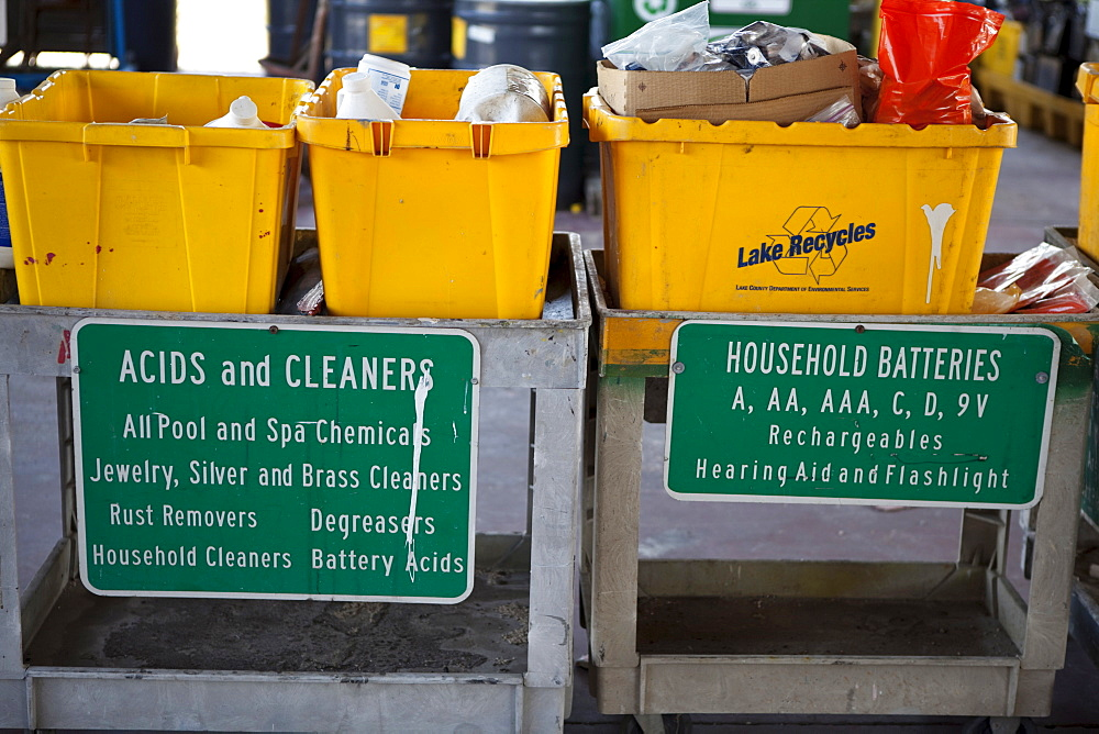 USA, Florida, Recycling, Deposit area to recycle and dispose of harmful household items.