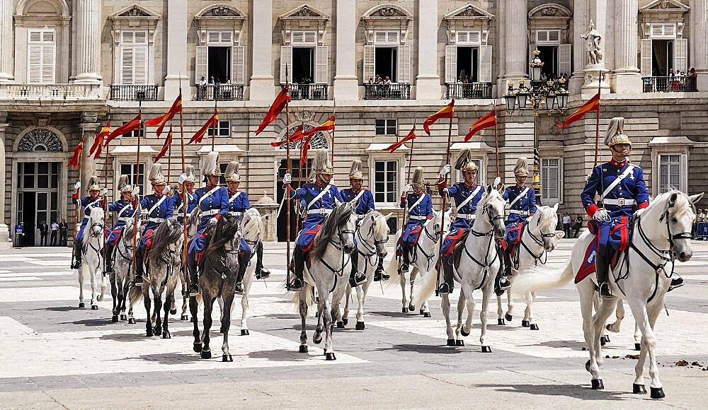 Spain, Madrid, Palacio Real Royal Palace Guards on parade.