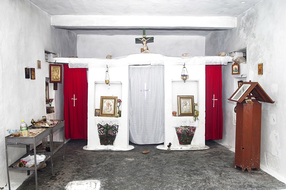 Albania, near Dhermi, Interior of a small village Greek Orthodox church.