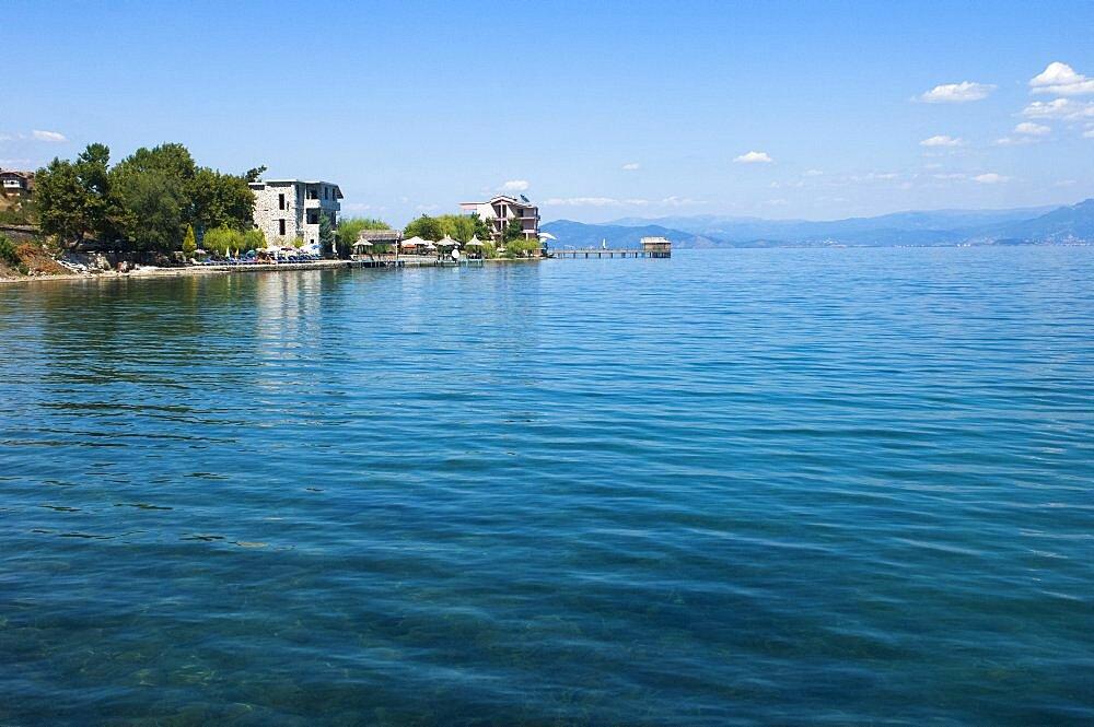 Albania, Lake Ohrid, Lakeside restaurant.