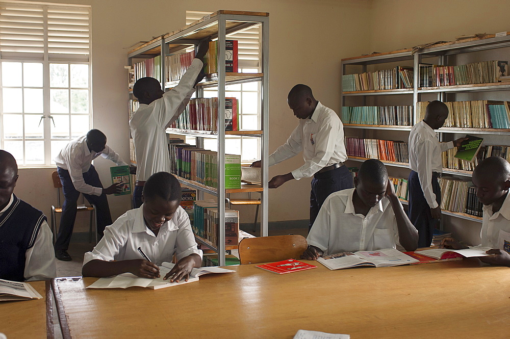 Uganda, Kabarole District, Student teachers in the library at Fort Portal Teacher Training College.
