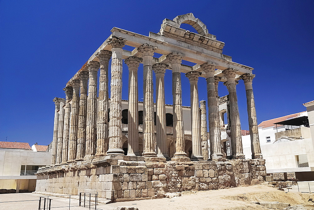 Spain, Extremadura, Merida, Ruins of the Roman Temple of Diana from the first century BC.