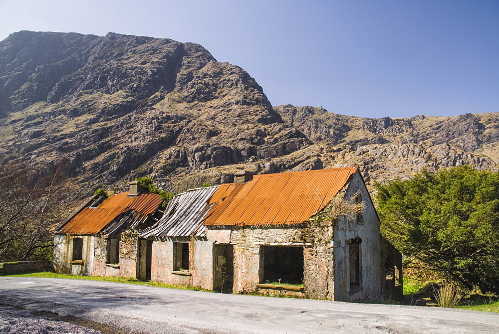 Ireland, County Kerry, Killarney, Gap of Dunloe Long abandoned homestead in the gap.