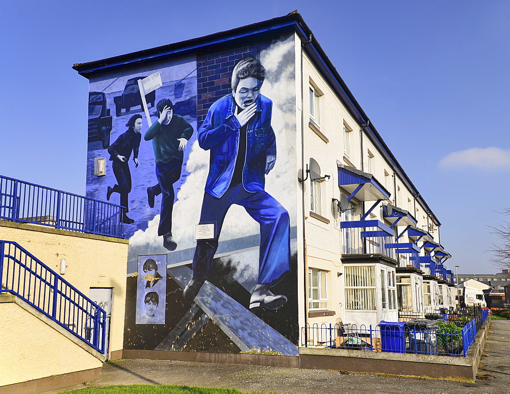 "Ireland, North, Derry, The People's Gallery series of murals in the Bogside, Mural known as ""The Runner""."