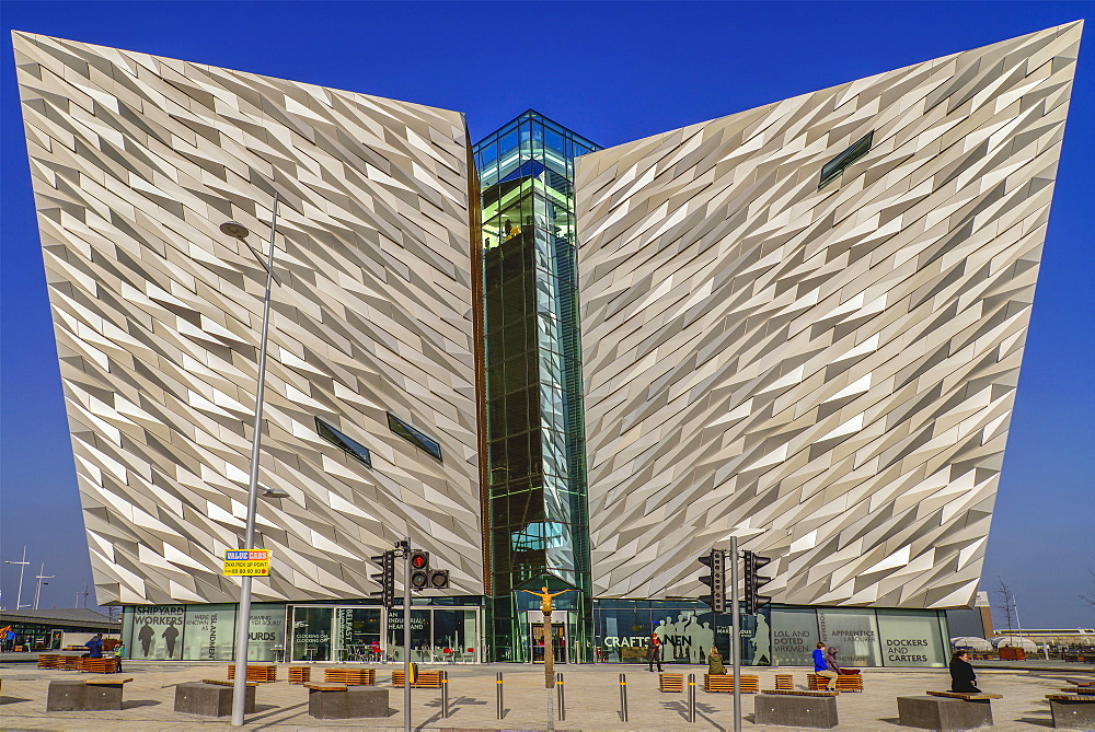 Ireland, North, Belfast, Titanic Quarter, Titanic Belfast Visitor Experience, Head on view of the building.