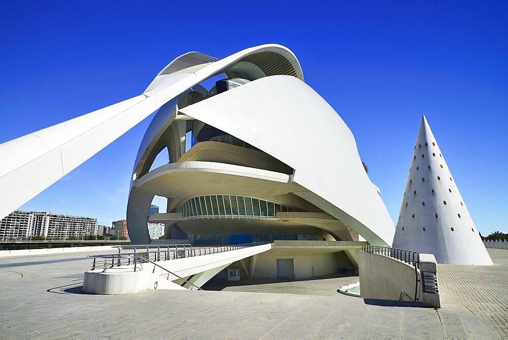 Spain, Valencia Province, Valencia, Spain, Valencia Province, Valencia, La Ciudad de las Artes y las Ciencias, City of Arts and Sciences, Palau de les Arts Reina Sofa, Opera house and cultural centre.