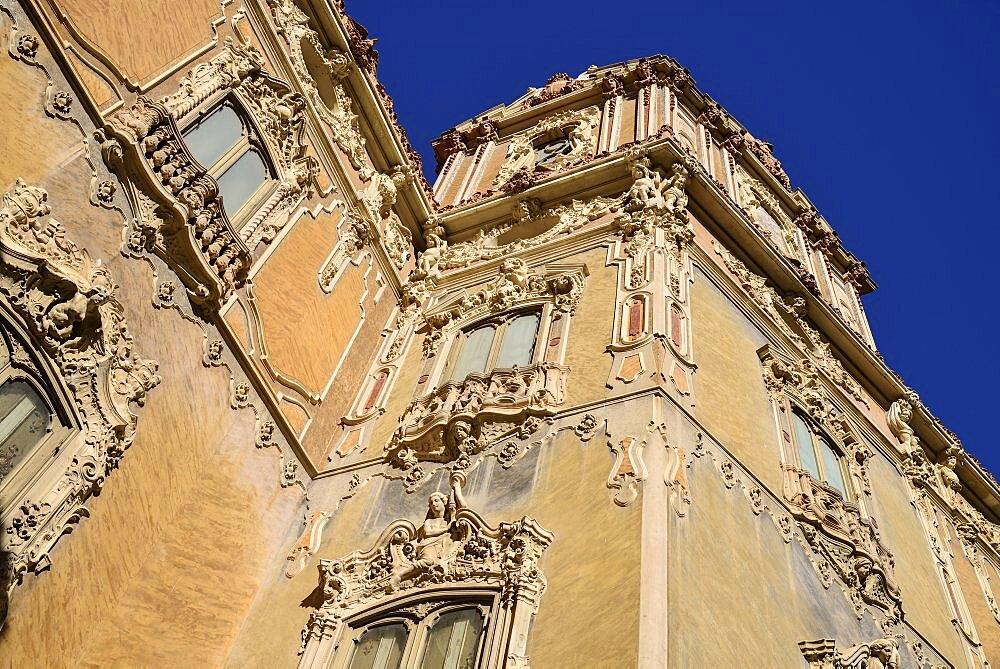 Spain, Valencia Province, Valencia, 15th century Palacio de Marques de Dos Aguas now the National Ceramics Museum or Museo Nacional de Ceramica, Some of the building's elaborate stonework.