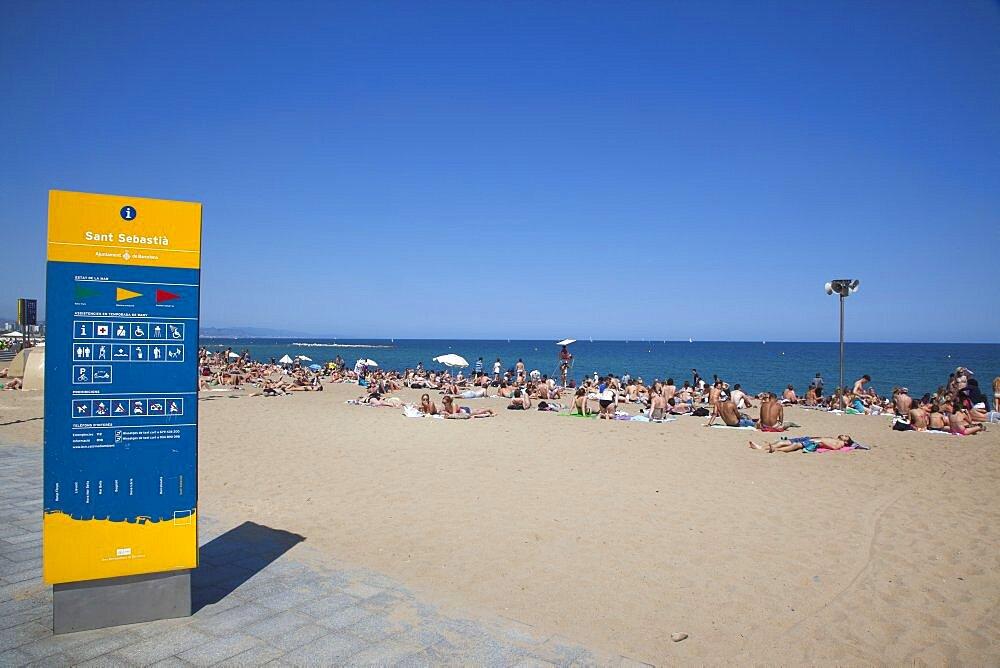 Spain, Catalonia, Barcelona, Playa de St Sebastia, Barceloneta Beach.
