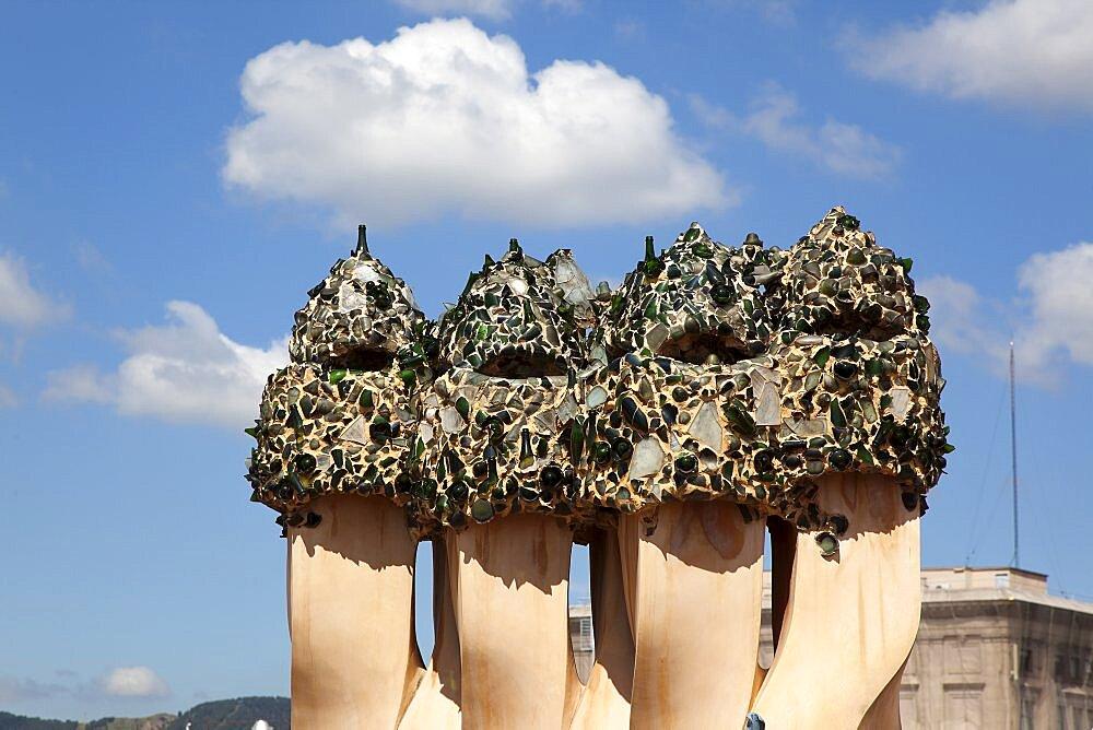 Spain, Catalonia, Barcelona, La Pedrera or Casa Mila on Passeig de Gracia, deisgned by Antoni Gaudi.