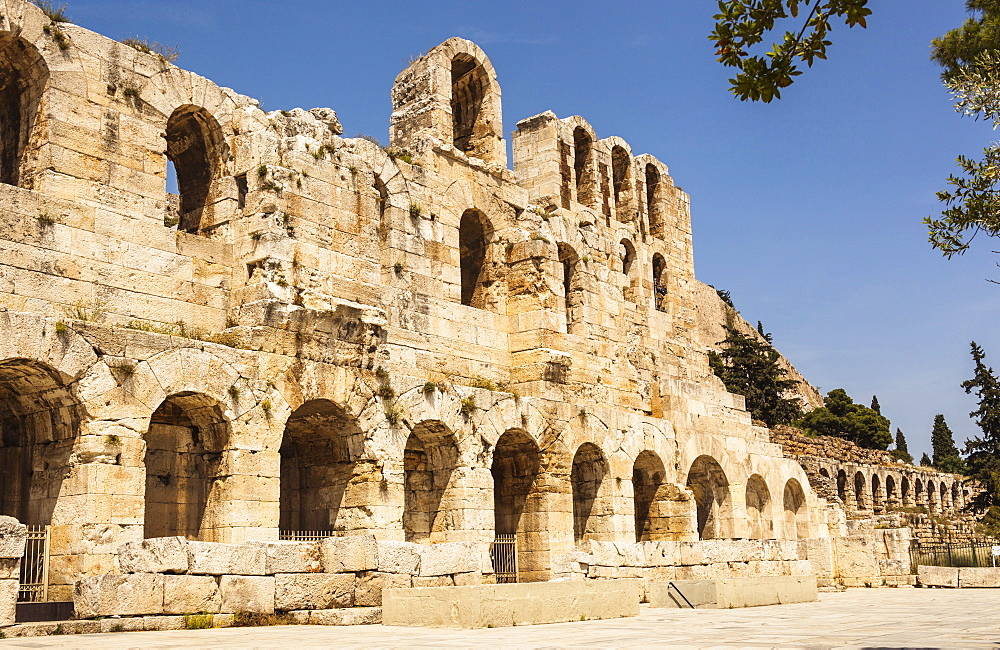 Greece, Attica, Athens, Odeon of Herodes Atticus, located on southwest slope of the Acropolis.