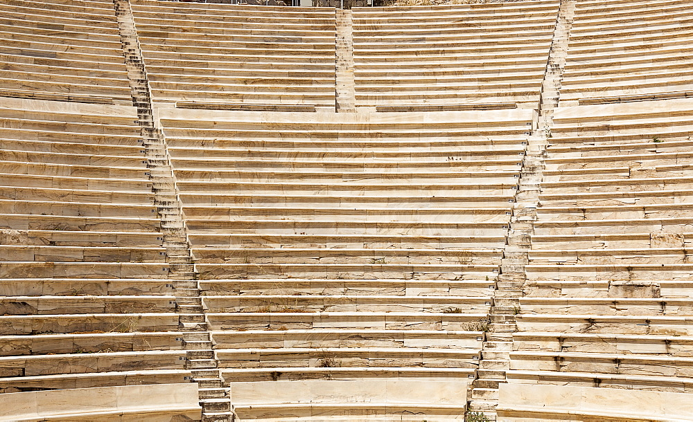 Greece, Attica, Athens, Greece, Attica, Athens, Stone seating in Odeon of Herodes Atticus, located on southwest slope of the Acropolis.