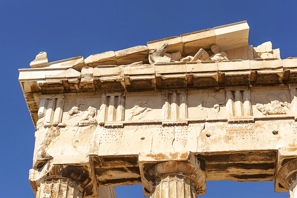 Greece, Attica, Athens, Close up of carved stone pediment of the Parthenon at the Acropolis.