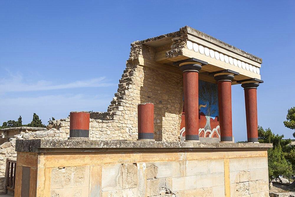 Greece, Crete, Knossos, The north entrance, Knossos Palace.