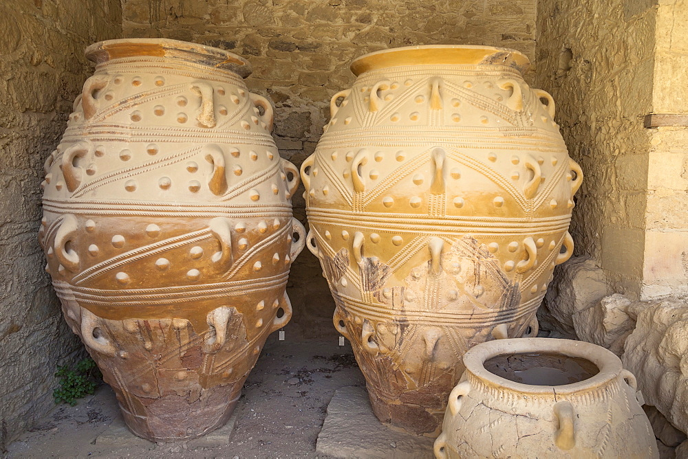 Greece, Crete, Knossos, Pithoi, large storage jars, in The Magazines of The Giants, Knossos Palace.