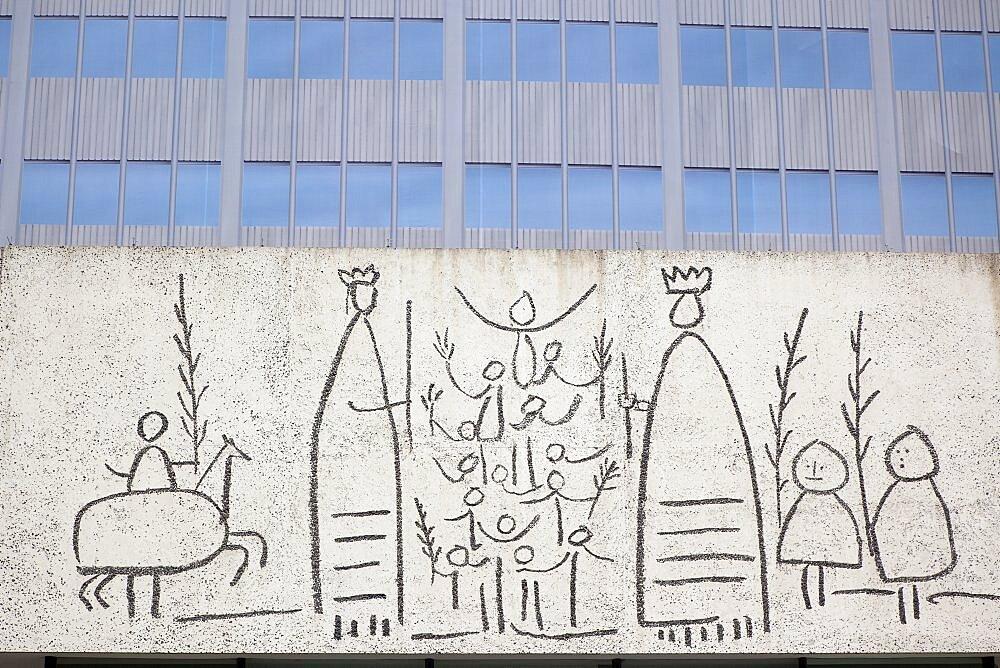 Spain, Catalonia, Barcelona, Detail of modern building in Placa Nova.
