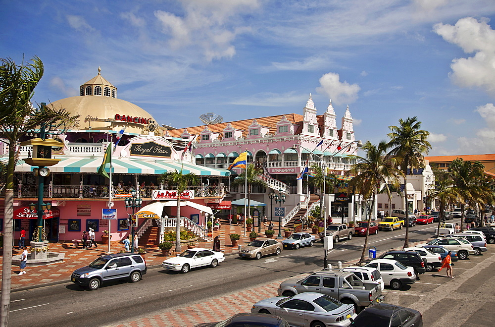 Dutch Antilles, Aruba, Oranjestad, City Centre showing colonial buildings.