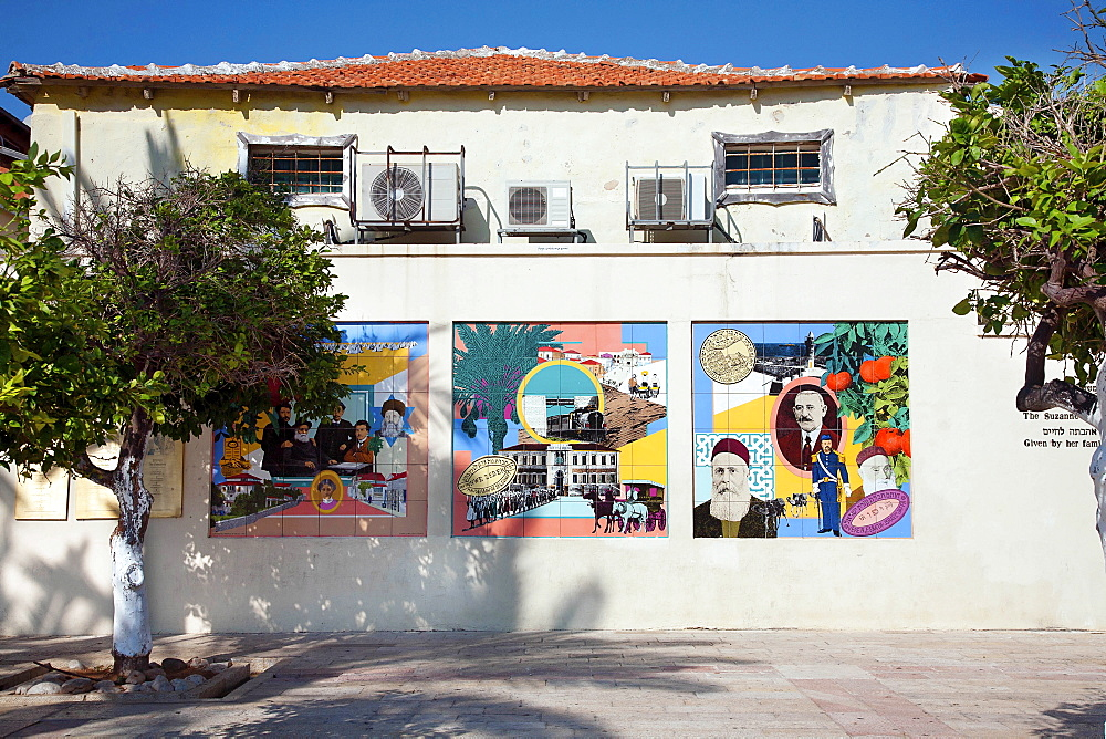 Israel, Tel Aviv, Historic Murals at the Suzanne Dellal Centre.