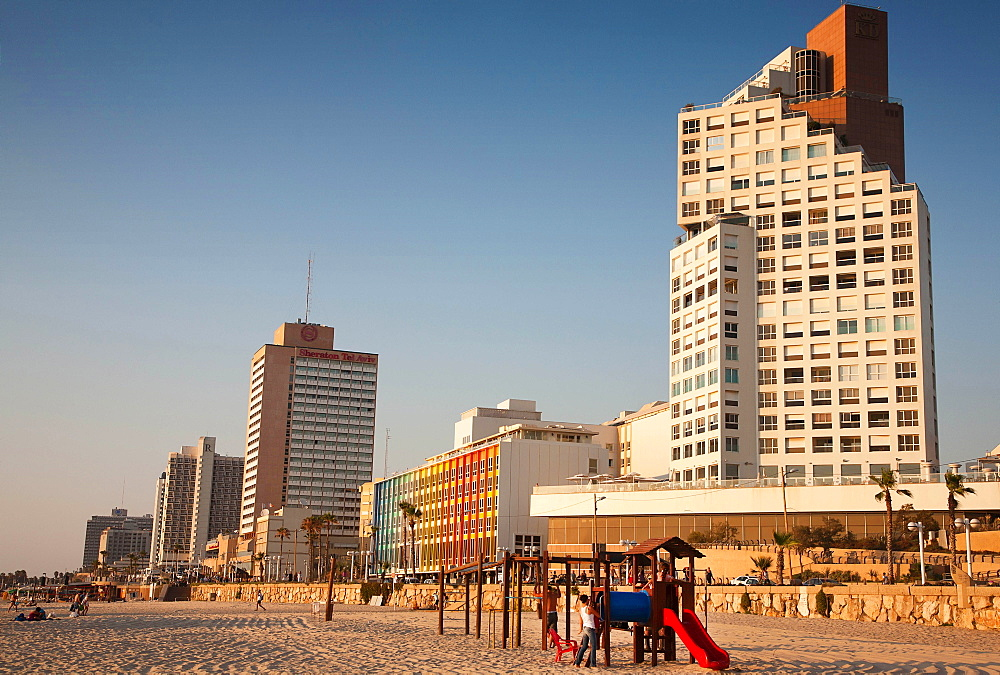 Israel, Tel Aviv, King David, Dan and Sheraton Hotels on Gordon Beach, Ha'yarkon Street.
