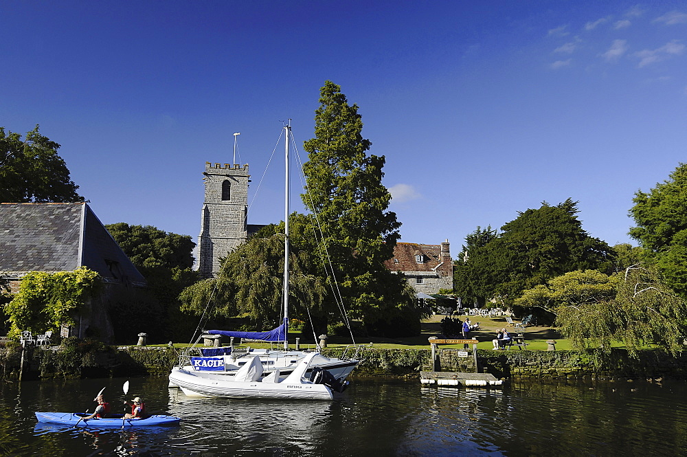 England, Dorset, Wareham, River Frome and Priory Hotel.