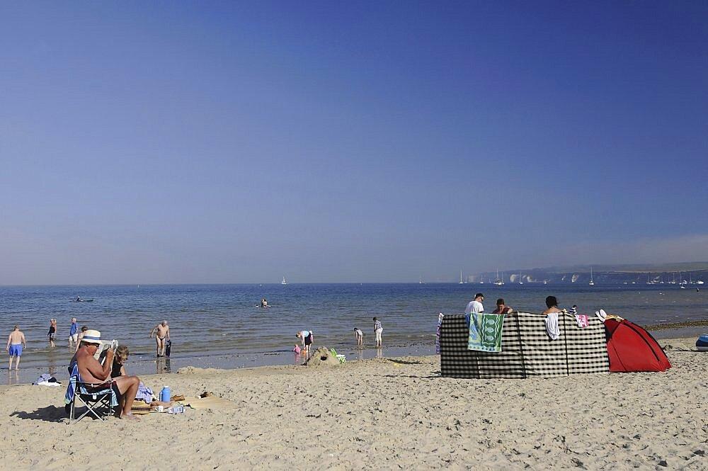 England, Dorset, Studland Bay, Knoll Beach with view towards Old Harry Rocks.